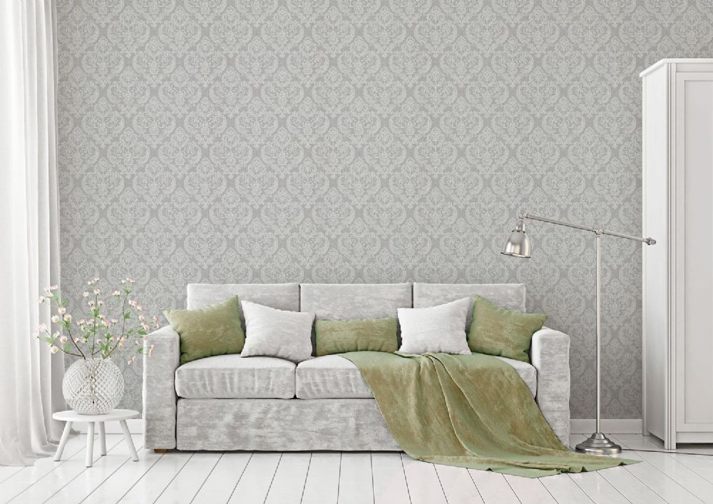 Crown Damask Soft Grey M1309 Wallpaper